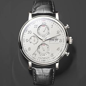 Image 2 - Marque de luxe suisse LOBINNI hommes montres calendrier perpétuel Auto mécanique hommes horloge saphir cuir relogio L13019 9