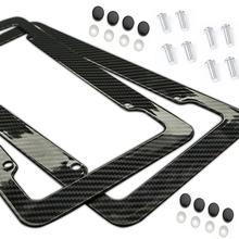 New2pcs moldura da placa de licença de fibra carbono plástico suporte do quadro da placa com kits parafuso padrão universal apto para carros topo