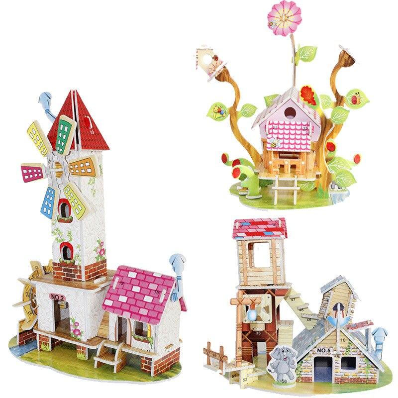 3 d puzzle paper children's educational toys, diy building house
