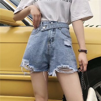 2020 Plus Size Sexy Jeans for Women Denim Shorts Summer Women's Denim Shorts Destroyed Ripped High Waisted Shorts roll up ripped denim shorts