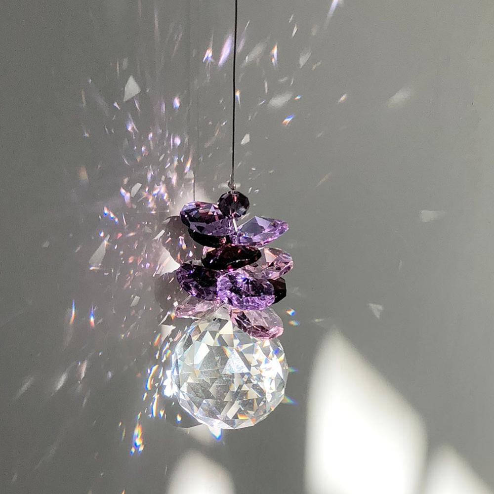 Hanging Window Rainbow Suncatcher Crystal Ball Prism Pendant 40mm Clear for Home Party Wedding Decor High Sparkle Pack of 2 Feng Shui Crystals Prism Suncatcher