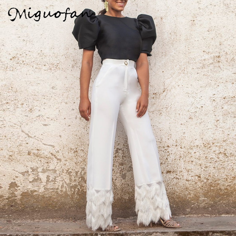 Miguofan 2Pieces Set Women Sets Puff Short Sleeve Solid Blouse Tops+wide Leg Long Pants  Tassel Spring Sexy Sets Outfits Suit