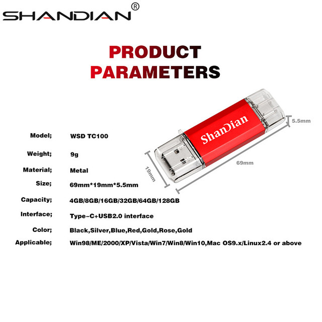 SHANDIAN Real capacity Flash Drive 64G 8G TYPE-C micro-usb 3 IN 1 pen Drive 32G 16G usb Smart Phone thumb pendrive memory 3