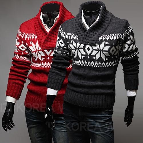 Autumn/winter 2019 Men's Turtleneck Sweater Men's High-quality Warm Sweater Christmas Deer Christmas Snowflake Men's Sweater