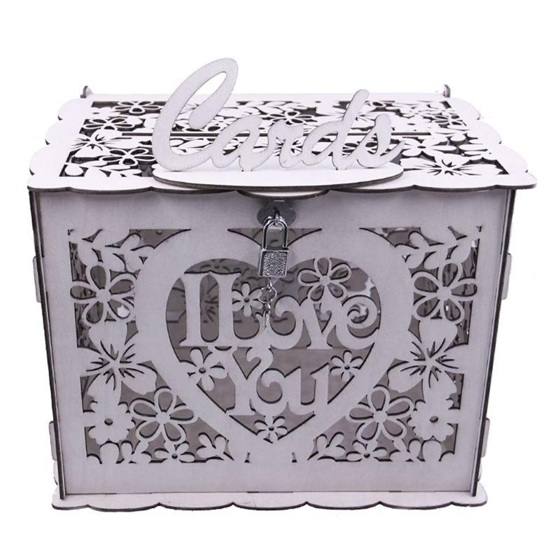 Cards Box DIY Wooden Lock Wedding Letter Box Vintage Ornament Card Organizer Birthday Party Gift Wedding Decor