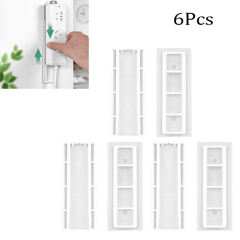 6Pcs Wall-mounted Cable Patch Panel Holders Traceless Punch Free Patch Board Racks Hanging Socket Organizer Holder