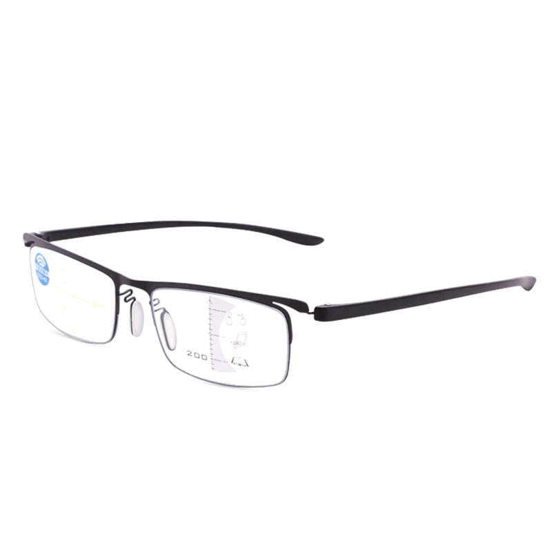 Progressive Multifocal Reading Glasses Men Metal Tr90 Anti Blue Presbyopic Glasses Womens Black Square Half Frame Gafas 1.50