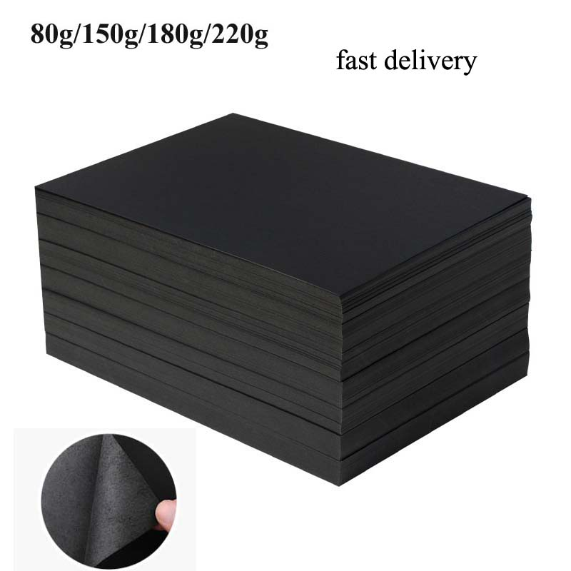 Blank Black Paper Graffiti DIY Handmade Paper A4 80g 180g 220g Craft Paper Cardboard Blank Hand Drawing Sketch Paper