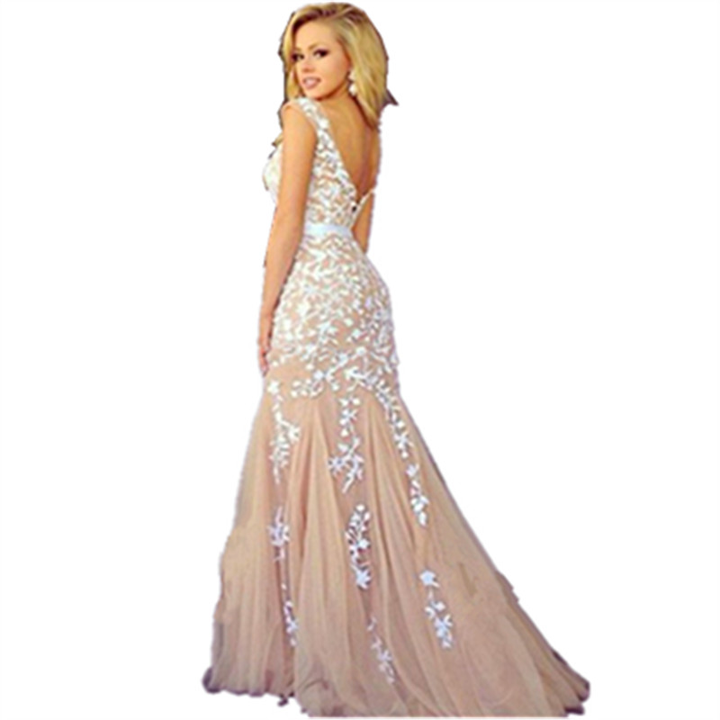 Elegant White Lace Appliques Champagne Mermaid Dress Prom 2016 New Arrival Women Evening Party Gowns
