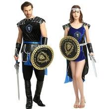 Umorden rzymski grecki żołnierz wojownik Gladiator kostium kobiety mężczyźni Cosplay średniowieczny król Slayer kostiumy Halloween przebranie