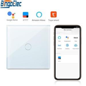 Image 1 - Bingoelec 1 Gang 1 Way WiFi Smart Switch Crystal Glass Panel Wall Light Switch Smart Home Automation Wireless Work For Tuya APP
