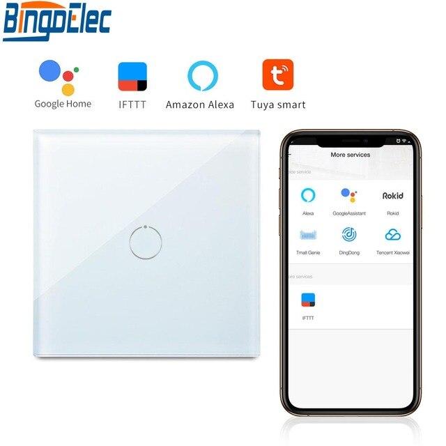 Bingoelec 1 Gang 1 Way WiFi Smart Switch Crystal Glass Panel Wall Light Switch Smart Home Automation Wireless Work For Tuya APP