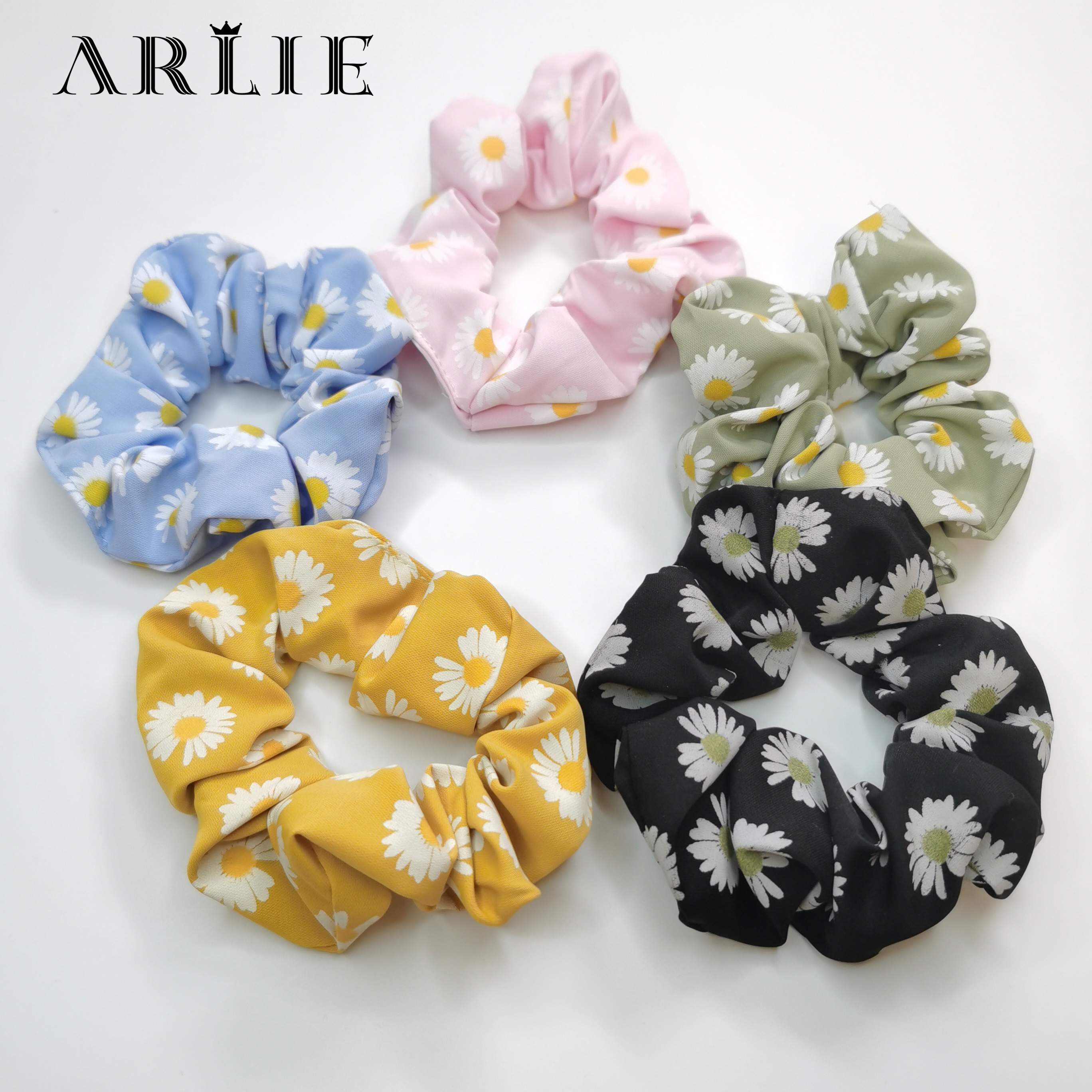 1PCS Women Sweet Daisy Hairband Scrunchies Floral Hair Ties Rope Girls Ponytail Fashion Hair Accessories Rubber Band Headwear