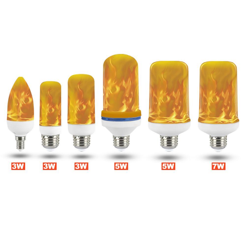 LED Lamp 3W 5W 7W 9W E27 E26 E14 E12 Flame Bulb 85-265V LED Flame Effect Fire Light Bulbs Flickering Emulation Decor LED Lamp