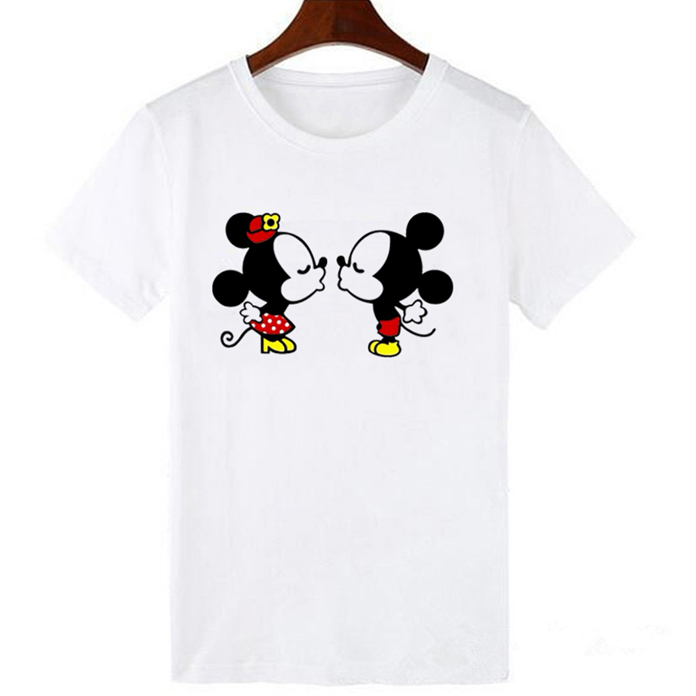 LUCKYROLL Mickey Minnie T Shirt Women Shirts Summer Tops Graphic Casual Harajuku Tees Women Kawaii T-shirt S-3XL