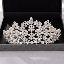 Vintage perlas Tiara corona mujer tocado para novia boda accesorios para el cabello Metal diamantes de imitación estilo joyería para el cabello
