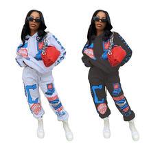 Модный женский спортивный костюм с принтом повседневный комплект