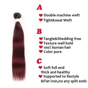 Image 5 - Brazilian Straight Human Hair Weave Bundles 1B 99J/Burgundy Ombre Red Human Hair Bundles Non Remy Human Hair Extension 1 Piece