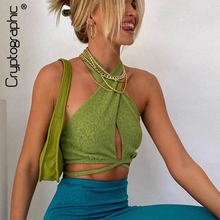 Cryptographic Green Sexy Bandage Halter Crop Tops for Women Sleeveless Backless Club Party Chic Wrap Cropped Top Slim Streetwear
