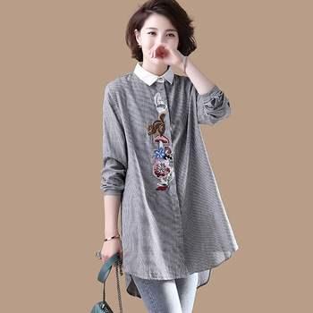 цена на Long Shirt Women Blouse Plus size  Striped Embroidery Ladies Office Shirt Cotton Linen Long sleeve Casual