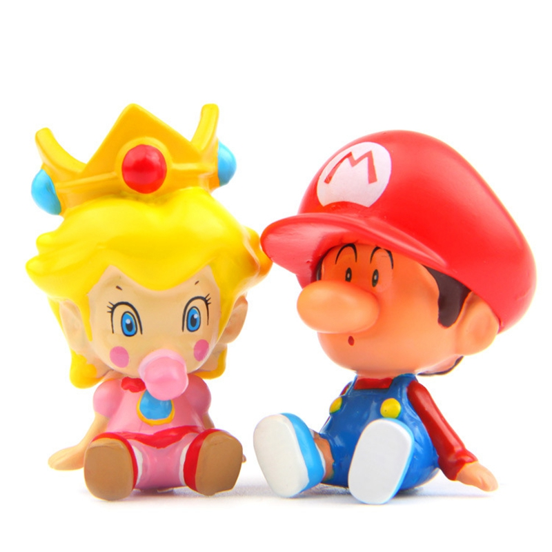 Hot 2 Styles Anime Super Mario Princess PVC Action Figure Doll Collectible PVC Toy Model Baby Toy Christmas Gift