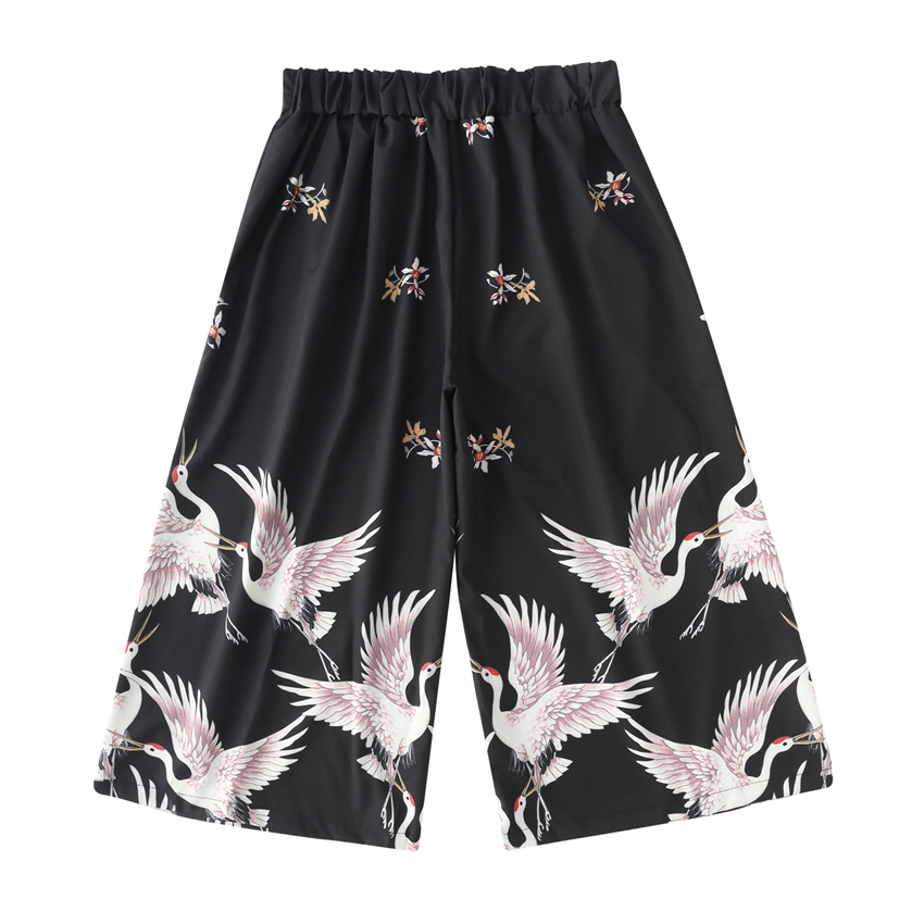 Japanese Style Crane Wide Pants Women Harajuku Trousers Samurai Costume Asian Men Clothing Haori Capris Ukiyo-e Casual Hip Hop