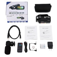 Digital Video Camera FHD 1080P IR 24MP 16X Digital Zoom Camcorder with Microphone and 3.0 LCD 270 Degree Touchscreen