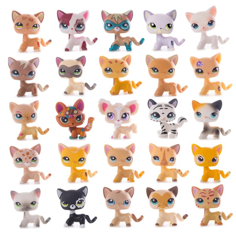 Original mascota pequeña tienda LPS colección de gato raro permanente Pelo Corto viejo gatitos de alta calidad Modelo de figura de acción juguetes para niños de regalo