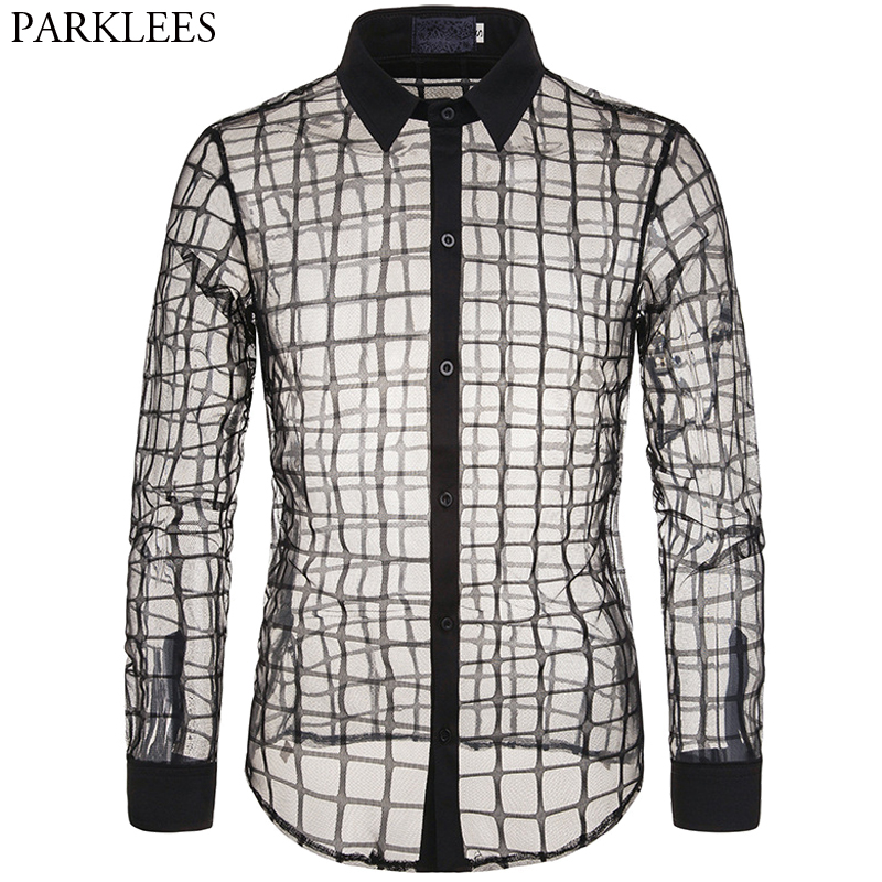 Mens Lace Transparent Shirts Sexy Mesh See Through Plaid Dress Shirt Men Slim Fit Long Sleeve Stage Party Dance DJ Mens Clothing