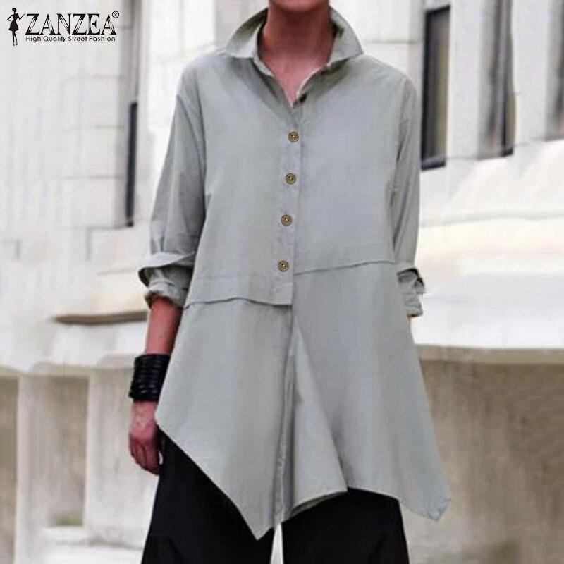 2019 ZANZEA Elegant Women Blouse Casual Lapel Neck Long Sleeve Shirts Female Asymmetrical Hem Solid Tops Plus Size Work Blusas 7