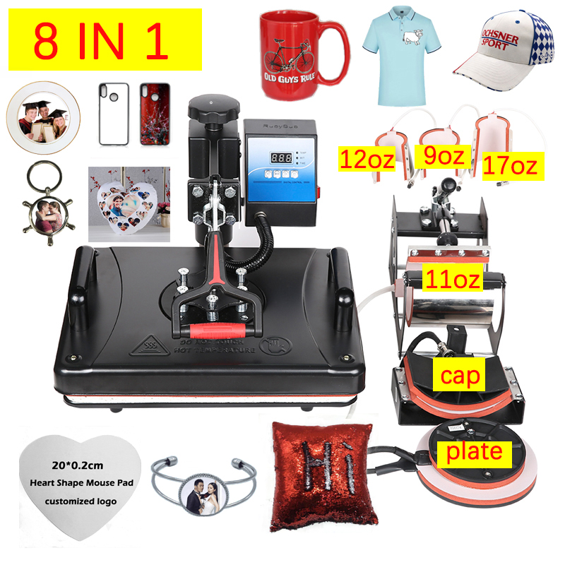 free shipping quality 30*38CM 8 in 1 Combo Heat Press Machine Sublimation  Heat Transfer Printer For Mug/Cap/T shirt/Phone Cases 1