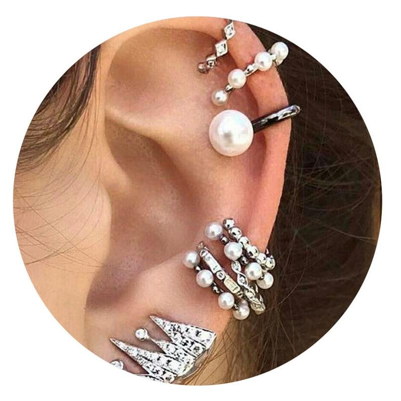 9 Pcs/Set Punk Simulated Pearl Crystal Clip Earrings For Women Bohemian Silver Color Ear Cuff Geometry Earcuff Jewelry