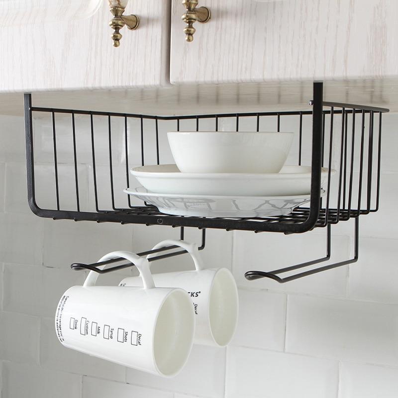 Home Kitchen Storage Shelf Wire Rack Cabinet Basket Iron Storage Tableware Cup Organizer Holder Stand Kitchen Tools Gadgets