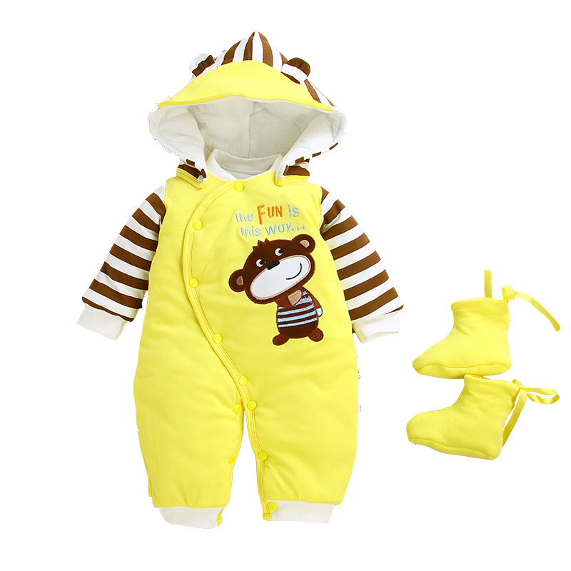 Image 4 - 2019 Baby Winter Romper For Newborn Girl Boy Clothes Toddler Baby Jumpsuit Overalls Thick Warm Baby Girl Rompers Infant Clothing-in Rompers from Mother & Kids