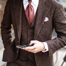 MENS Suit Tweed Tuxedo Wedding-Blazer Lapel Business Groomsman Wool Formal 3pieces Red-Brown