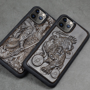 Image 3 - Luxury Carved 3D Stereo Ebony Wood Case for iPhone 11 iPhone11 TPU Full Protective Back Cover Phone Cases For iPhone 11 Pro Max