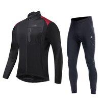 Santic Winter Cycling suits Fleece Thermal Sportswear Windproof Reflective Bicycle Clothing Bike Coat Cycing pants MTB M 3XL