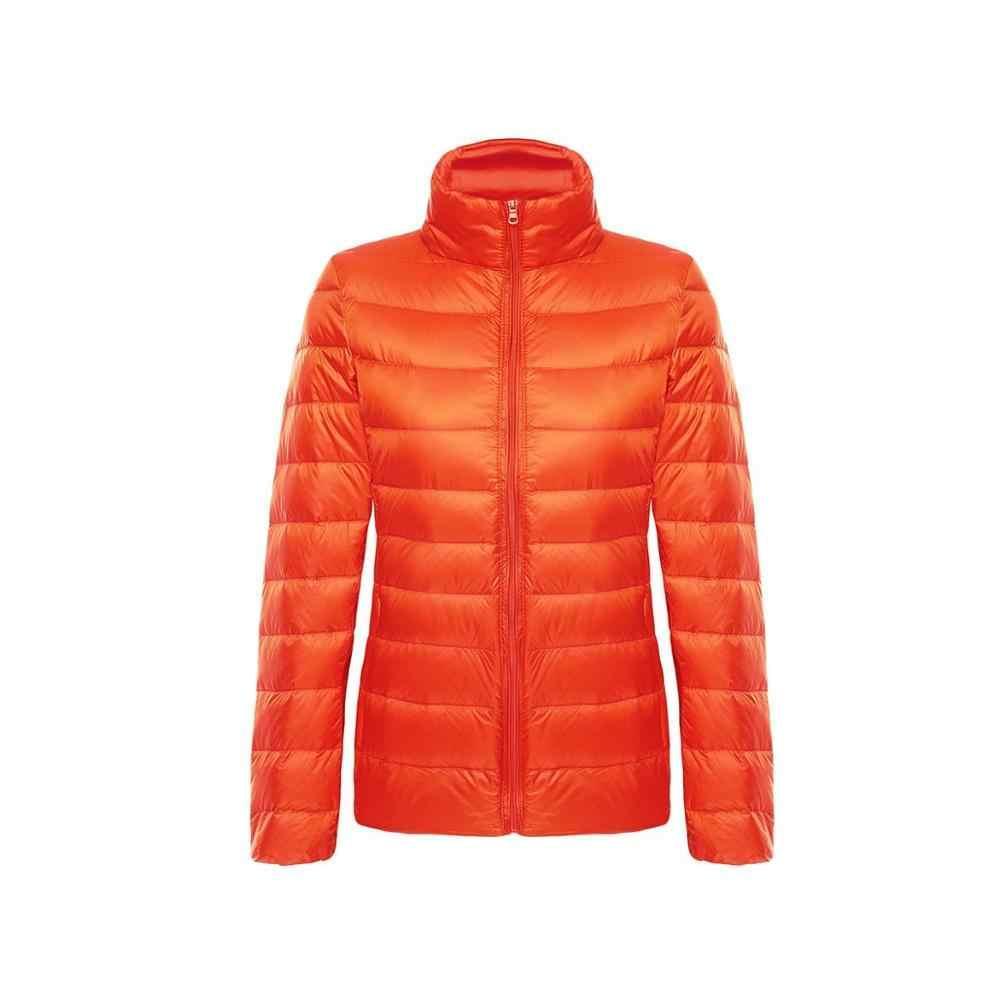 ฤดูใบไม้ร่วงผู้หญิงฤดูหนาวแจ็คเก็ตเป็ดสีขาวลงเสื้อแจ็คเก็ตผู้หญิง Slim เสื้อ Lady Ultralight เสื้อแขนยาวลงหญิงขนาด 5X