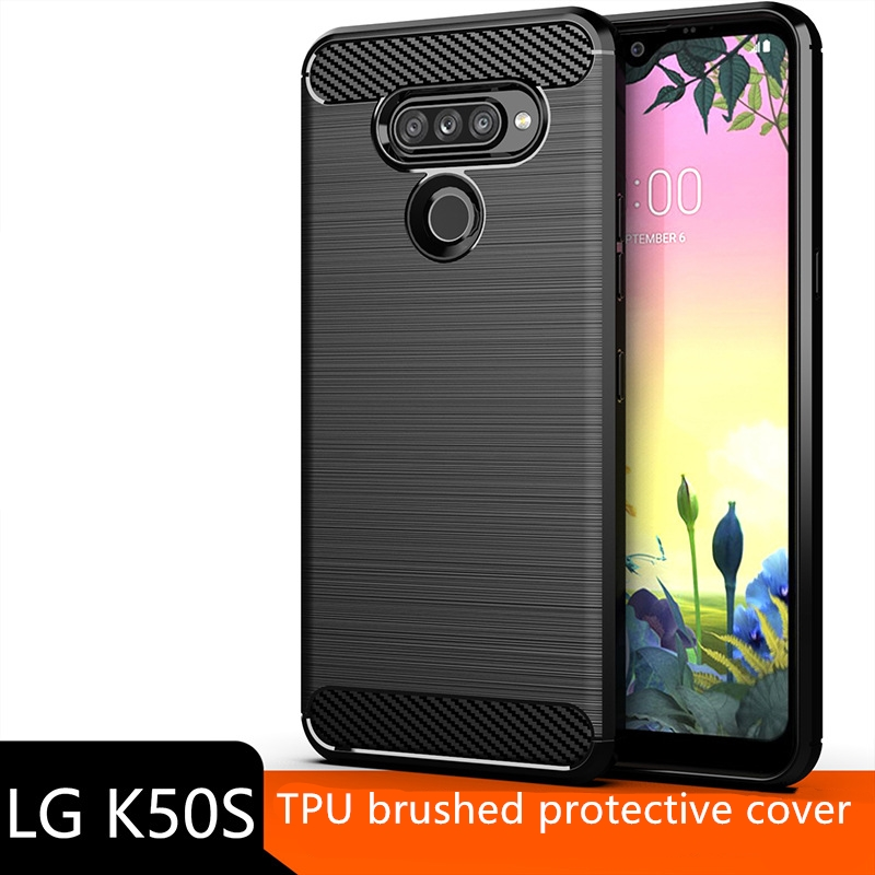 Applicable To LG K50s Mobile Phone Case Protective Sleeve, Brushed Carbon Fiber Pattern, Silicone Anti Falling Soft Shell TPU