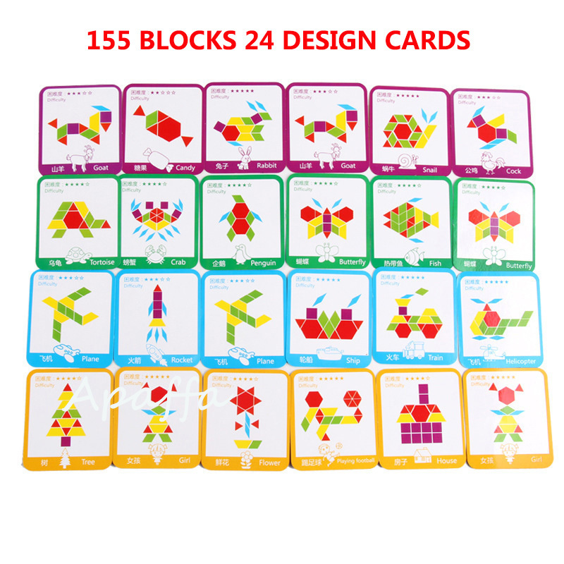 Image 3 - 155pcs 3d Wooden Jigsaw Puzzle Early Childhood Education Geometric Tangram Wooden Game Toys for Children Montessori LearningPuzzles   -