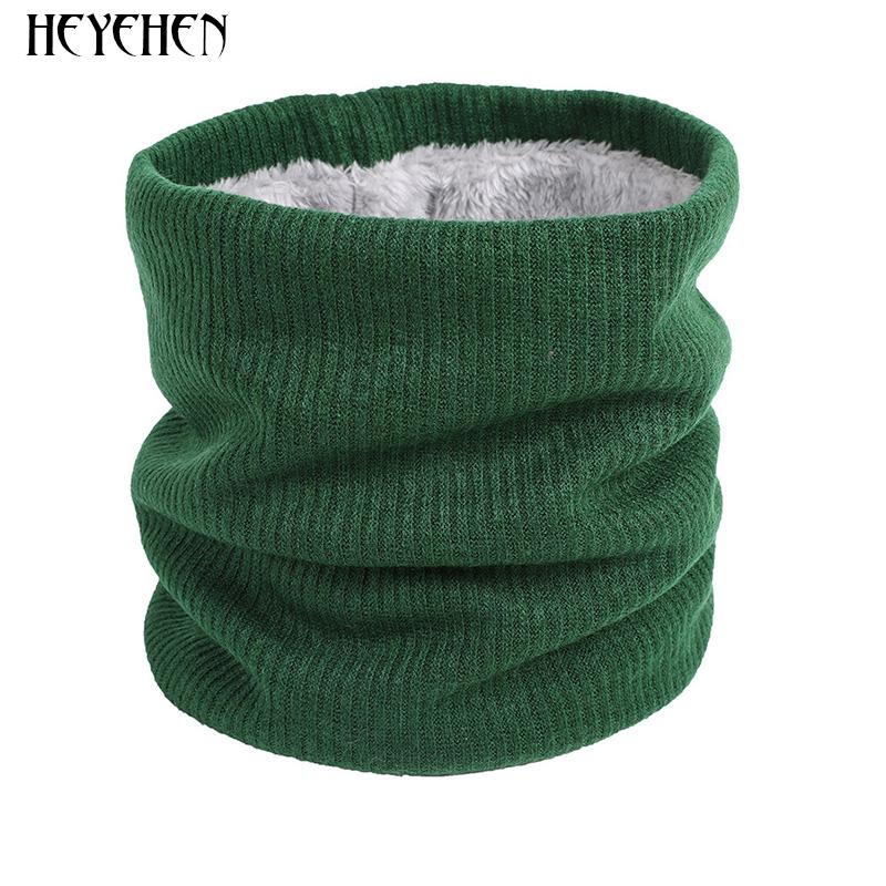 Unisex Knitted Warm Scarf Winter Autumn Ring Women Bandana Solid Scarf Fleece Men Headband Neck Scarf Shawl