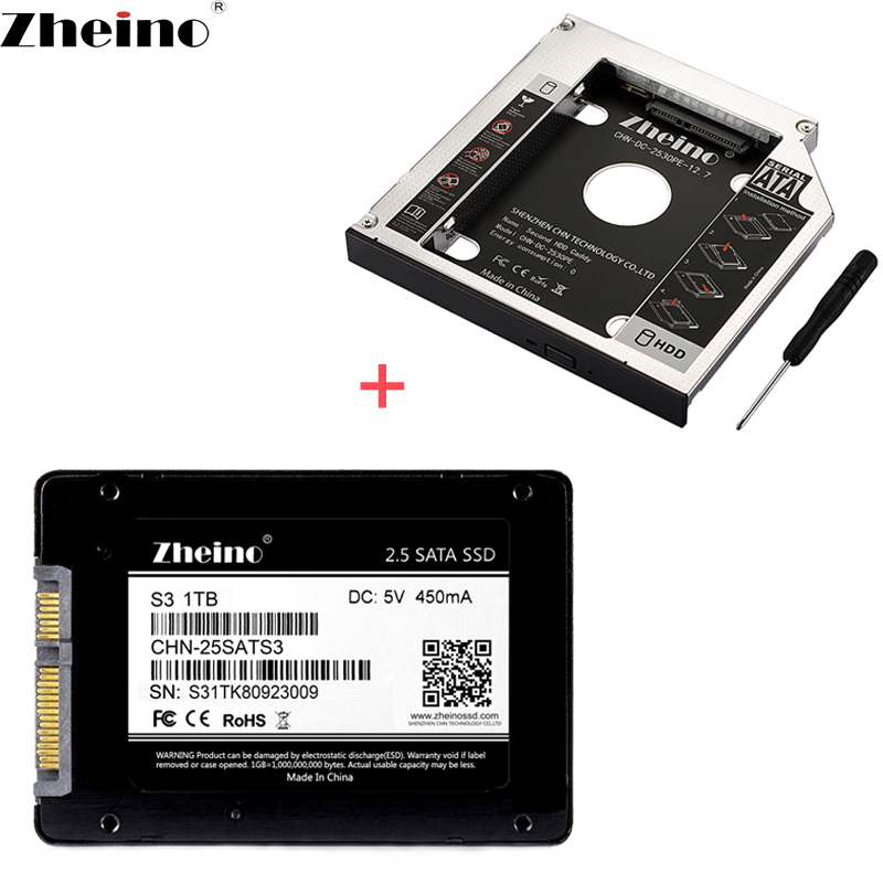 Zheino SATA3 SSD with 9.0MM 9.5MM 12.7mm Caddy 60GB 120GB 240GB 360GB 480GB 128GB 256GB 512GB 1TB 2nd HDD Caddy Aluminum title=