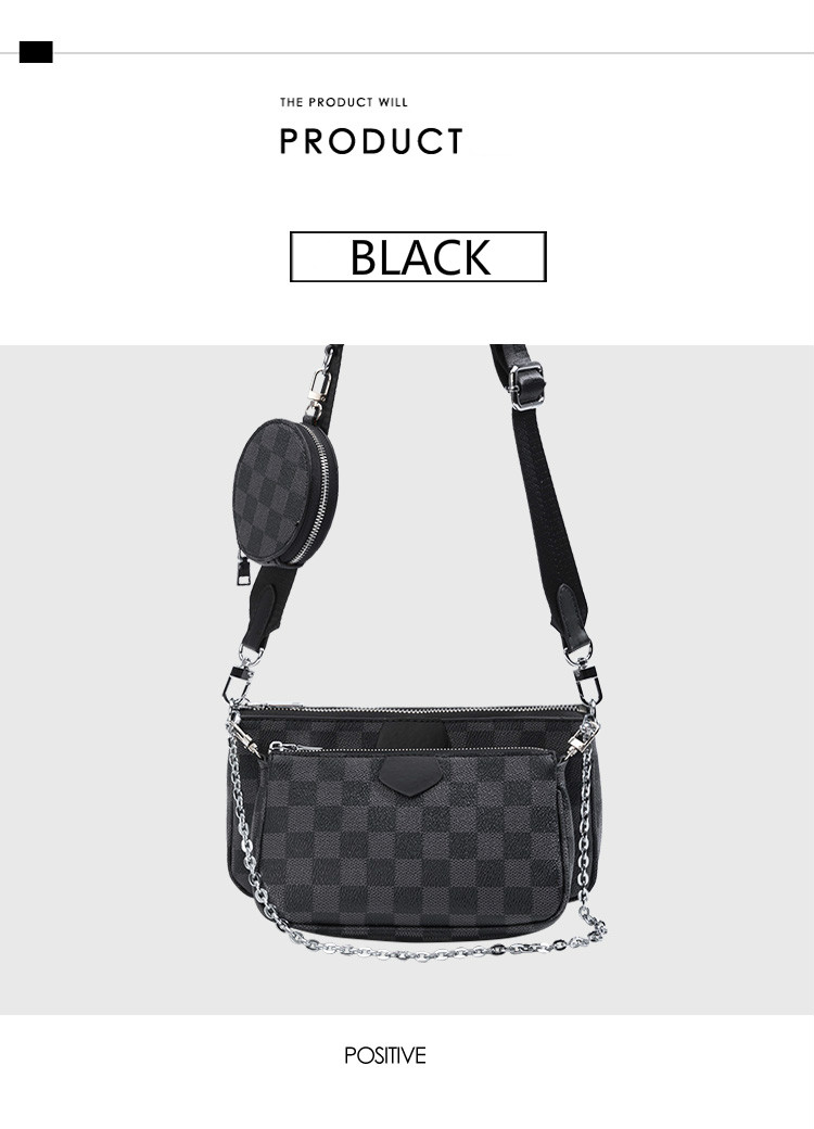 Luxury Black Women Crossbody Bags Fashion Messenger Shoulder bag For Female Three in one Cross body Women's Bags