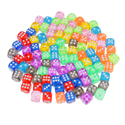 100 Pieces 16mm D6 Dice 6 Sided Transparent Rounded Edge Die with Dice Bag for D&D Role Playing Games