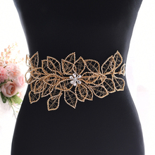 TRiXY SH256-G Golden Diamond Belt Rhinestone Sparkly Belts for Dresses Wedding Champagne Gold Womens Beaded