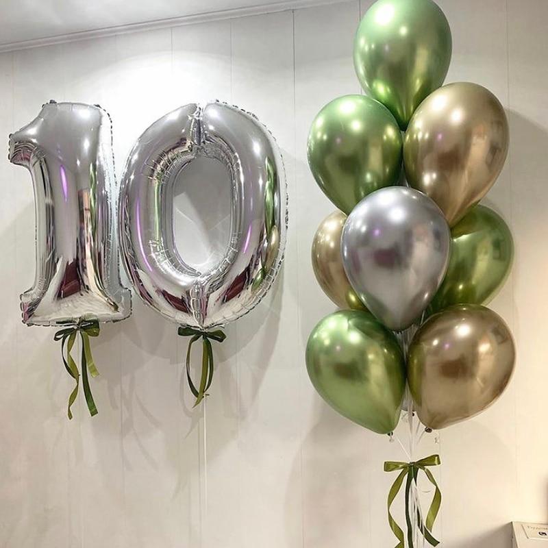 Metal Gold Silver Balloons Ink Green Jungle Theme Latex Balloon Wedding Birthday Party Decoration Festival Celebration Supplies