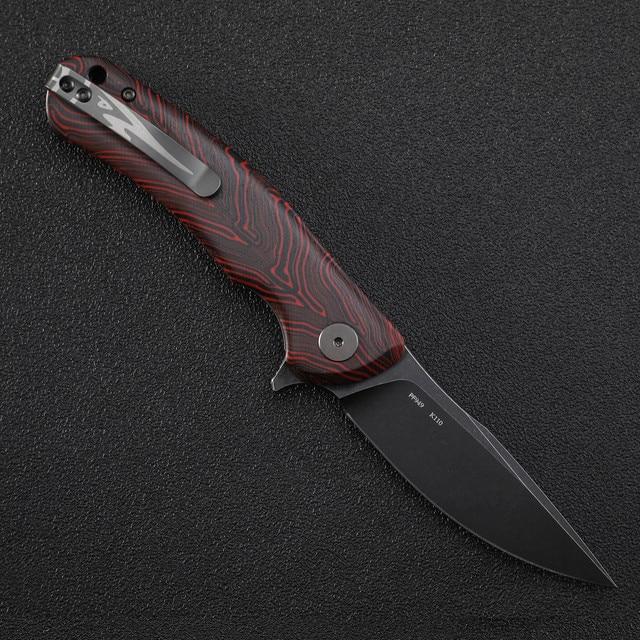 Petrified  fish PF949 K110 steel folding knife ceramic ball bearing flax handle outdoor EDC tool camping survival hunting knives 2