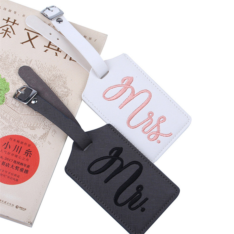 New 1pcs Mr&Mrs Embroidery Suitcase Luggage Tag Bag Pendant Travel Accessories Name ID Address Wedding VIP Invitation Label