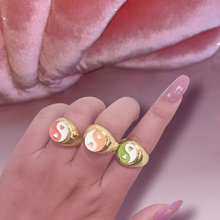 Flatfoosie anelli Bagua Yin Yang Tai Chi di alta qualità per donna anelli geometrici in metallo Color oro argento cuore 2021 gioielli alla moda