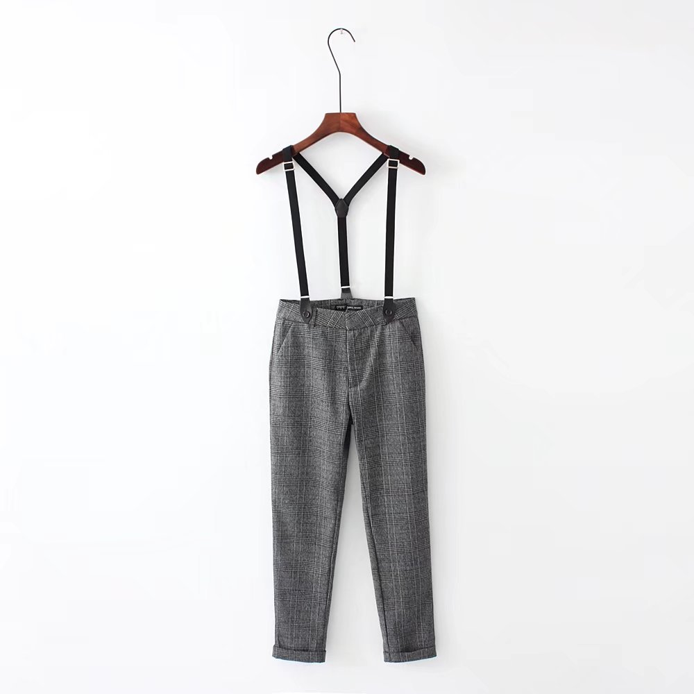 F0907 2017 Autumn New Style Trend WOMEN'S Dress High-waisted Plaid Thick Loose-Fit Skinny Capri Suspender Pants